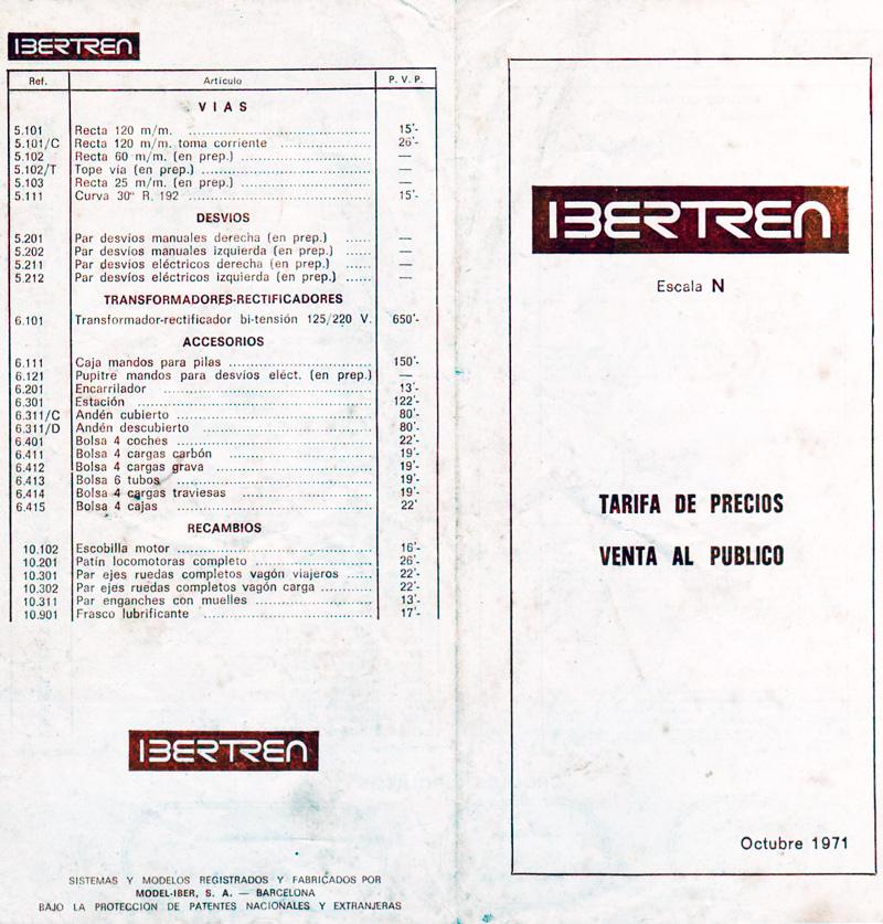 Precios Ibertren 1971