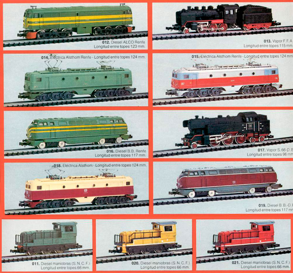 Ibertren, catálogo 1977, locomotoras