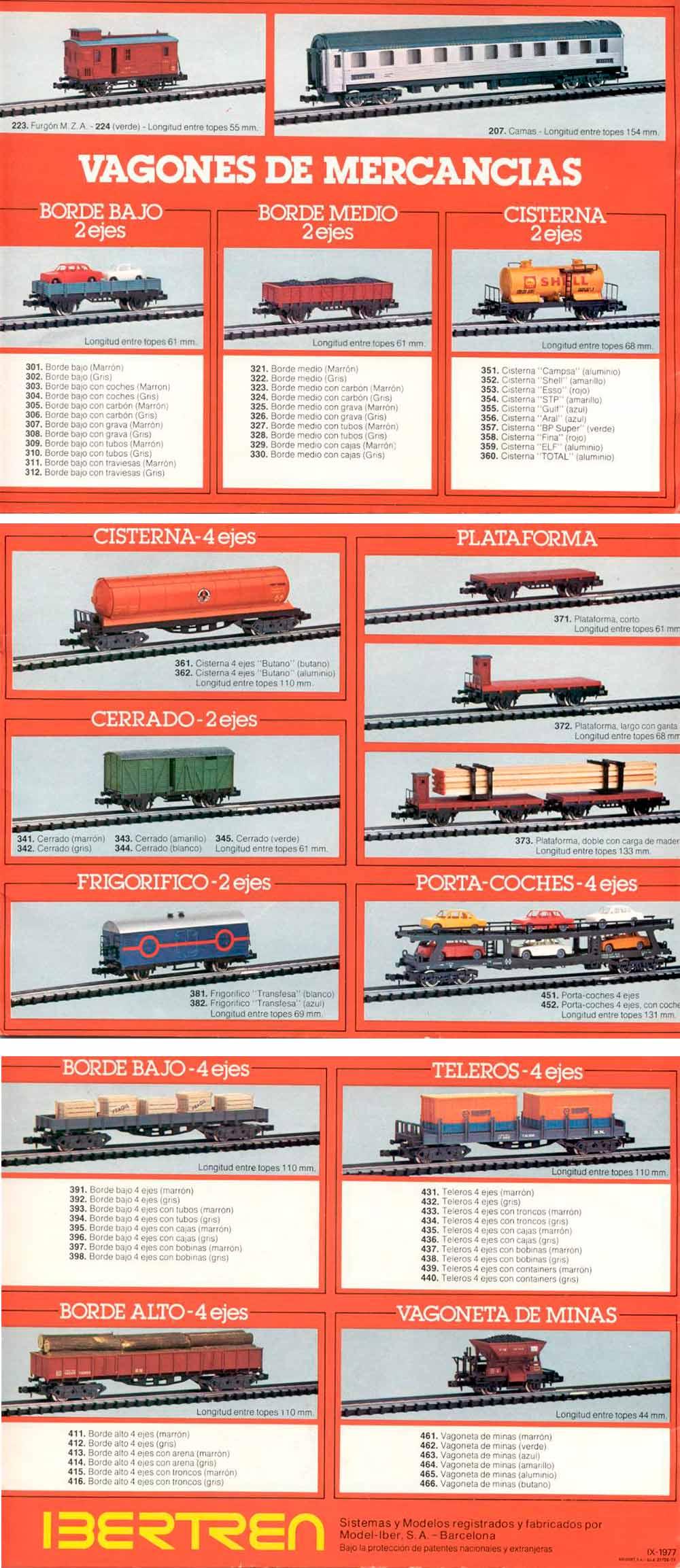 Catálogo Ibertren 1977 - Vagones de mercancías