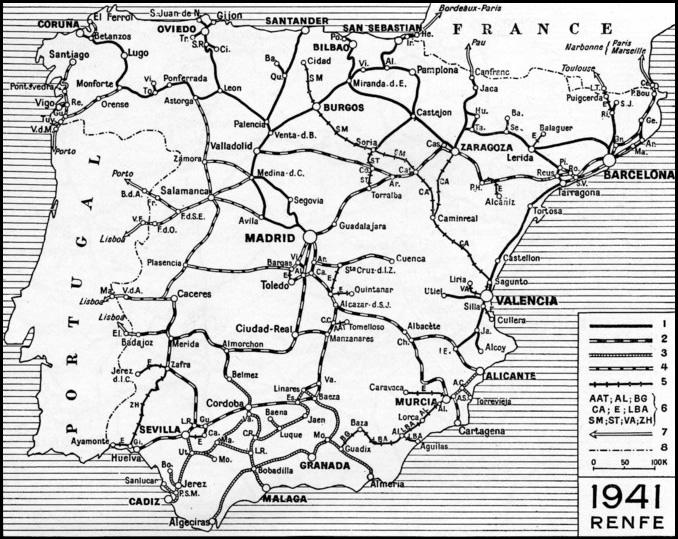 Plano de RENFE en 1941, cuando fue creada