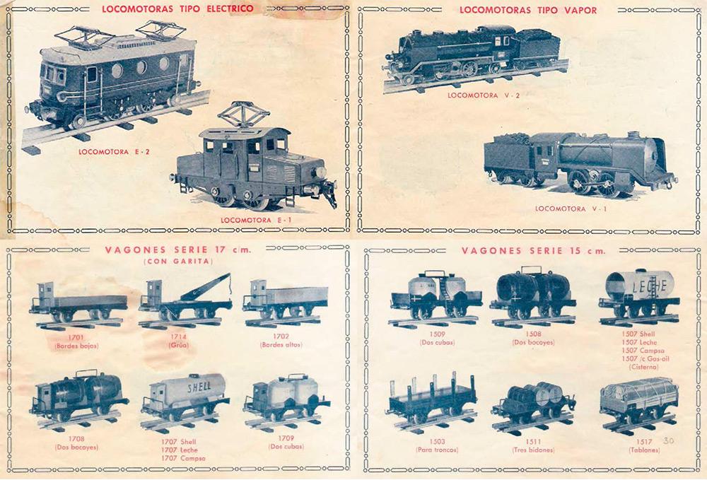 Locomotoras y parte de los vagones de mercancías de Electrotren en 1951.