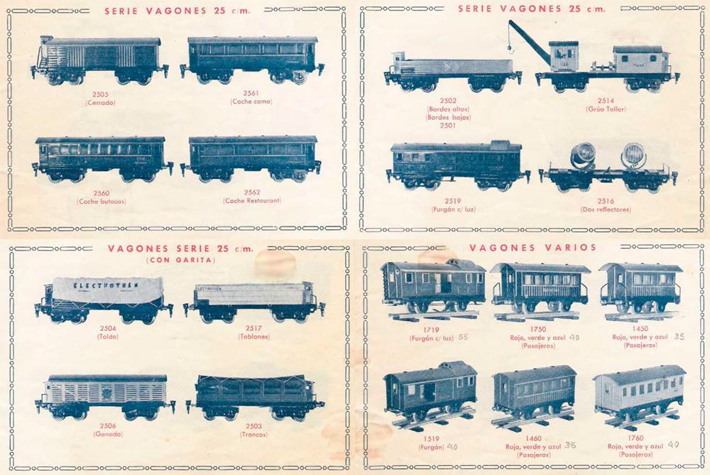 Parte de los coches de viajeros y vagones comercializados por Electrotren en 1951. Escala 0