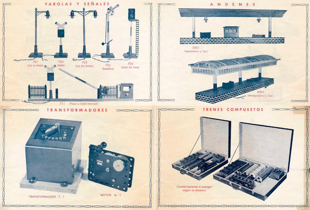 Parte de los accesorios de Electrotren en 1951. Escala 0.