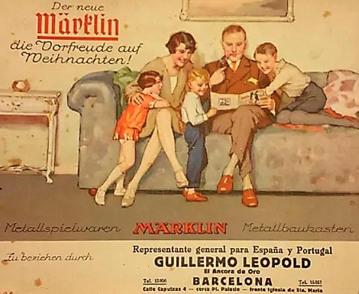 """Portada de un catálogo de Märklin distribuido por la tienda """"El Áncora de Oro"""""""