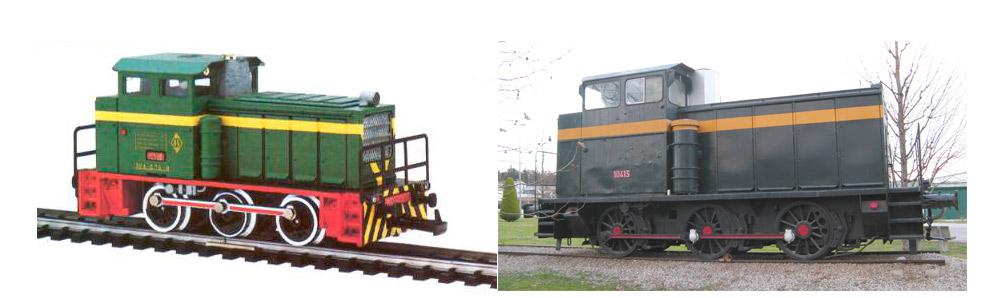 Comparación del modelo a escala H0 de Ibertren y el modelo real, expuesto en la estación de Fornells de la Selva (Girona)